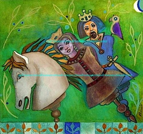 cavaliere e dama su fondo verde